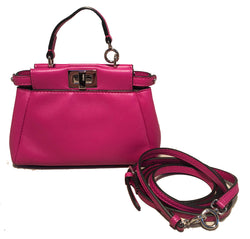 Fendi Micro Mini Fuchsia Pink Peekaboo Bag with Shoulder Strap