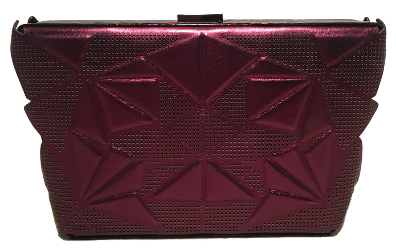 Tonya Hawkes Purple Metallic Embossed and Laser Cut Leather Clutch