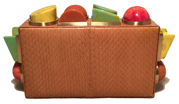 Tonya Hawkes Tan Faux Snakeskin Convertible Clutch with Marble Multicolor Studs