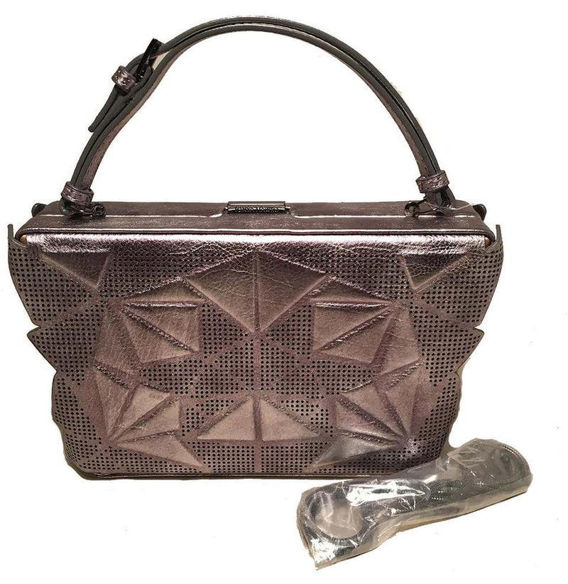 Tonya Hawkes Silver Metallic Embossed and Laser Cut Leather Convertible Clutch