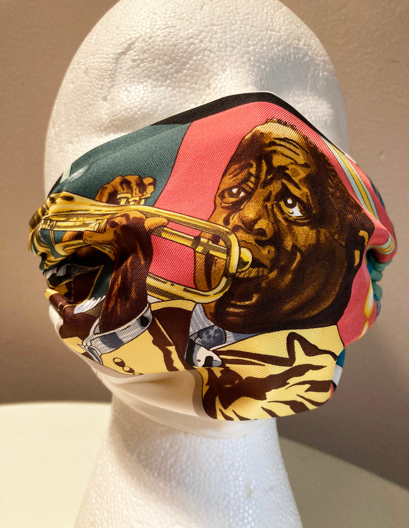 Hermes New Orleans Creole Jazz Silk Scarf Face Mask