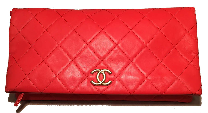 2018 Chanel Red Quilted Leather CC Fold Over Clutch