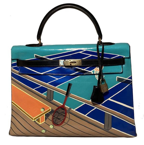 OOAK Vintage Hermes Hand Painted Tennis Court Kelly 35