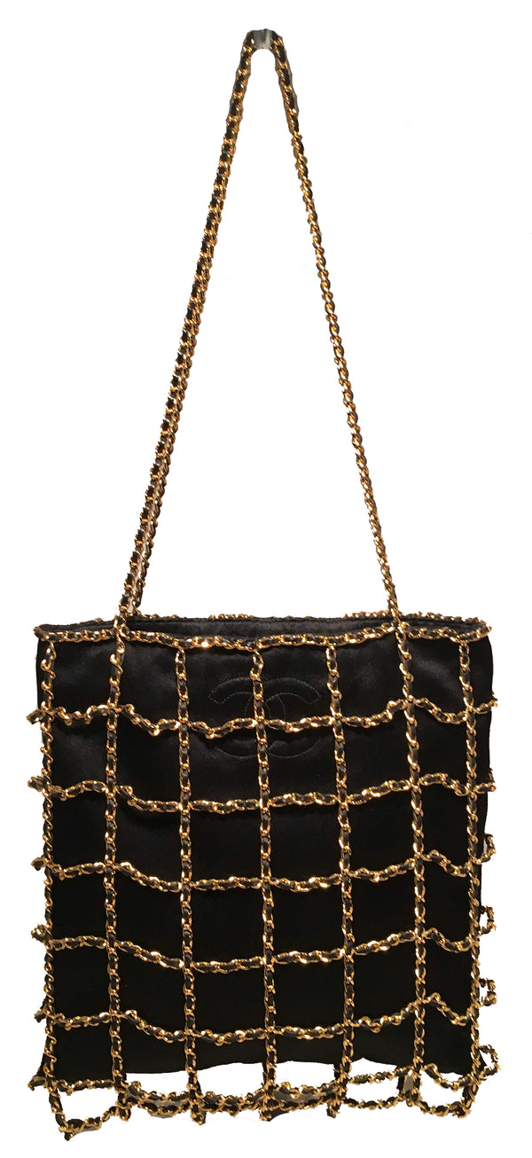 RARE Chanel Vintage Black Silk Chain Cage Evening Shoulder Bag