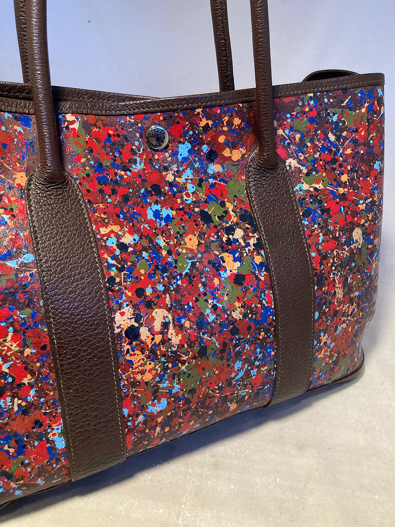 Hermes Abstract Hand Painted Garden Party 35 Tote