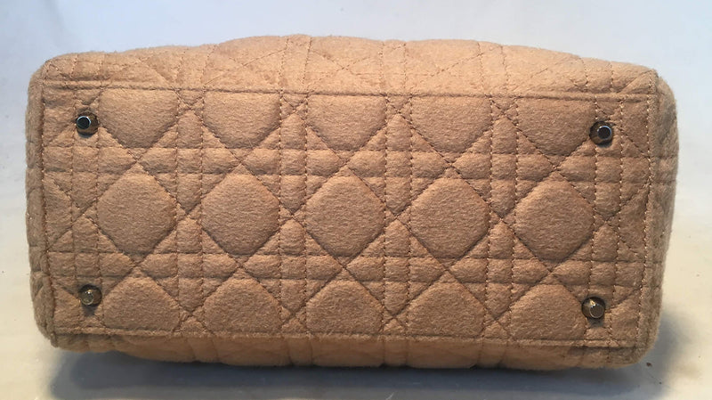 Christian Dior Tan Wool Cannage Quilted Medium Lady Di Bag