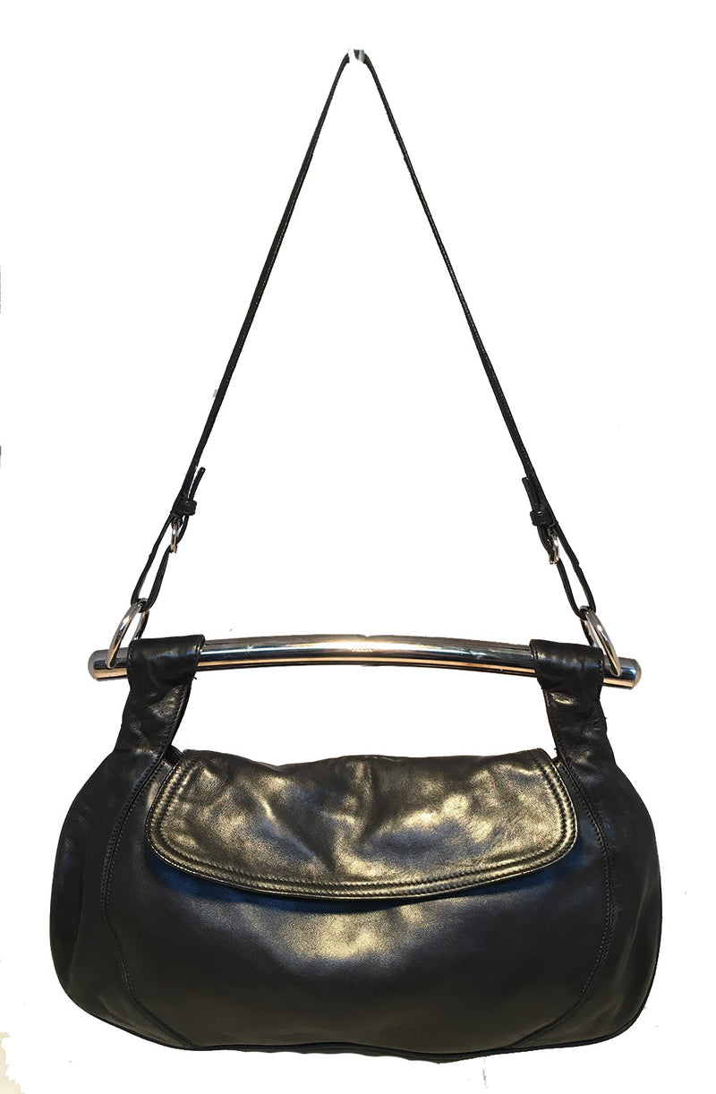 Prada Black Leather Bar Top Handle Convertible Handbag