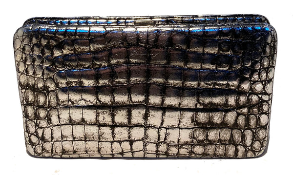 Judith Leiber Antiqued Silver Alligator Clutch