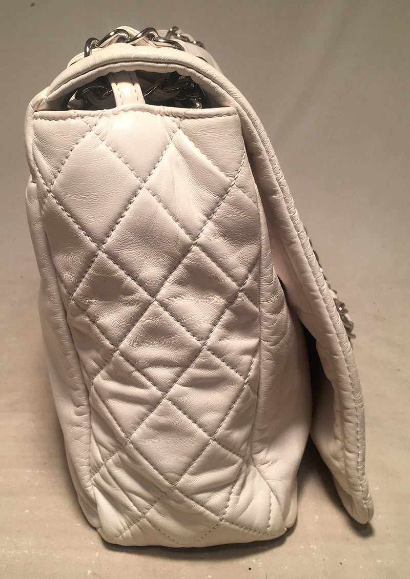 Chanel White Leather Quilted CC logo XL Maxi Classic Top Flap Shoulder Bag