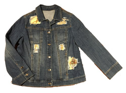 Hermes Vintage Qui' Import le Flacons Silk Scarf Distressed Denim Jacket-Medium