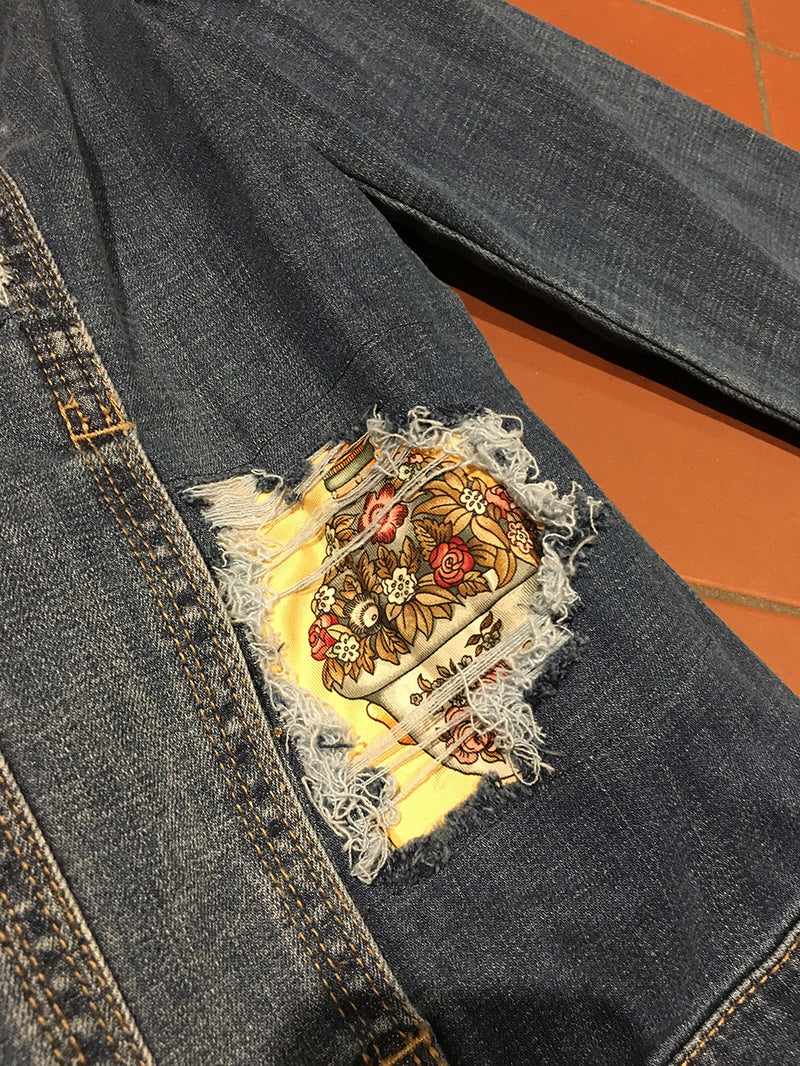 Hermes Vintage Qui' Import le Flacons Silk Patch Denim Jacket