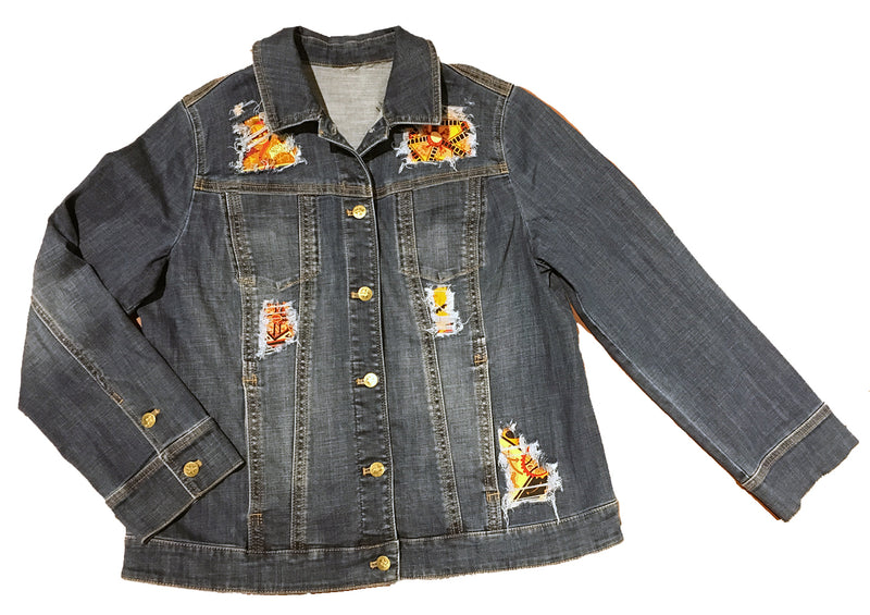 Hermes Vintage La Mecanique des Idees Silk Patch Denim Jacket