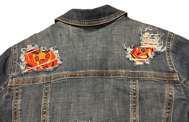 Hermes Vintage La Mecanique des Idees Silk Scarf Distressed Denim Jacket-Medium