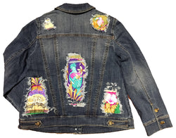 Hermes Vintage Tropiques Silk Scarf Distressed Denim Jacket