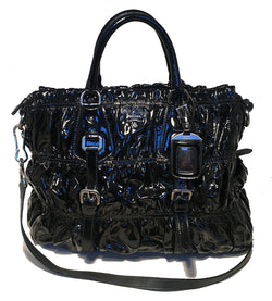 Prada Black Patent Leather Gaufre Ruched Shoulder Bag Tote