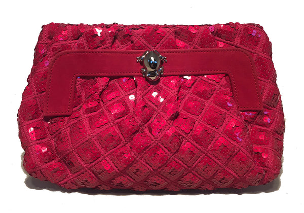Marc Jacobs Pink Sequin Frog Clutch Shoulder Bag