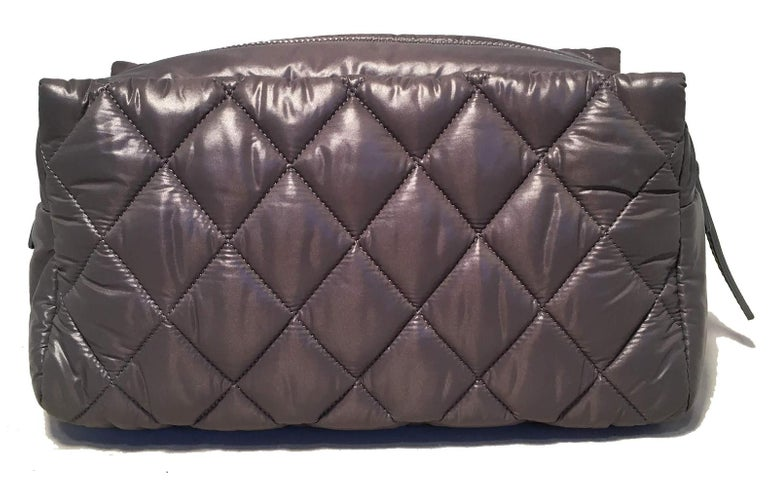 Chanel Grey Quilted Nylon Travel Accessories Cosmetic Pouch
