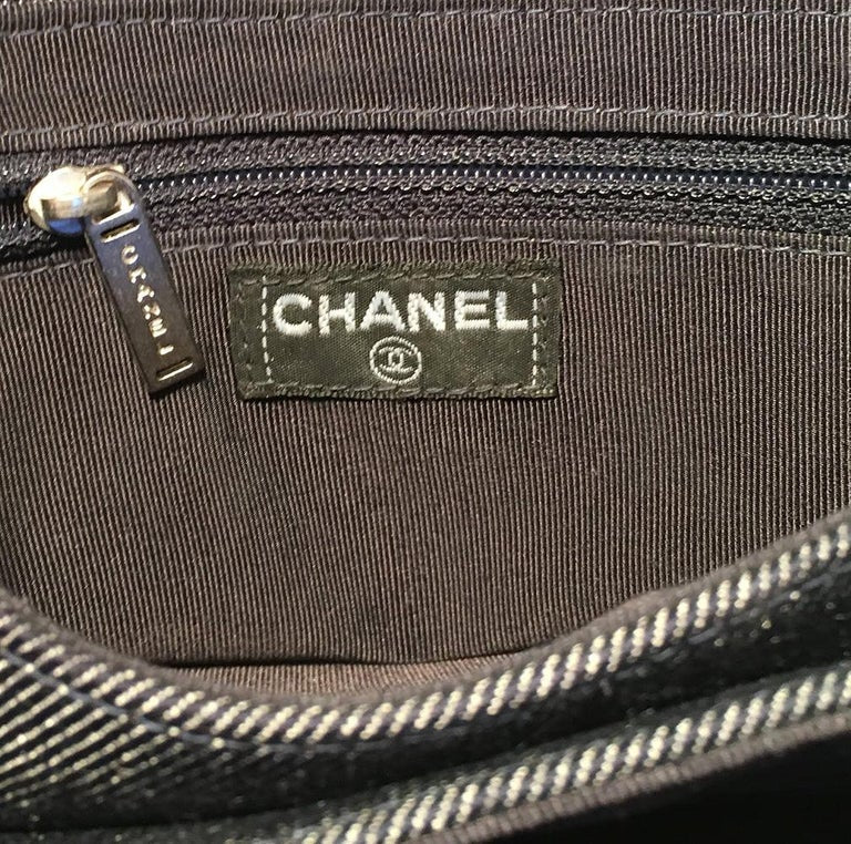 Chanel Square Quilted Denim Convertible Bum Bag Waist Pouch Clutch Shoulder Bag