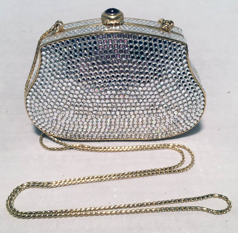Judith Leiber Clear Swarovski Crystal Mini Minaudiere Evening Bag Clutch