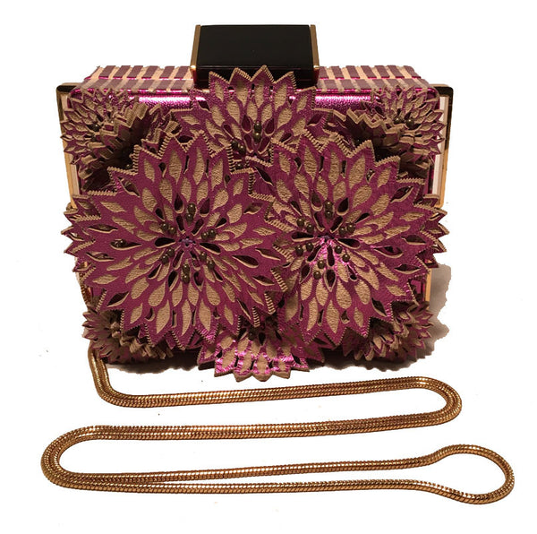 Tonya Hawkes Purple Floral Leather Cut Out Box Evening Shoulder Bag