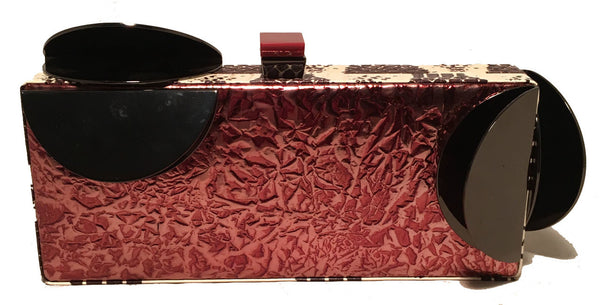Tonya Hawkes Copper Leather Cow Print Snakeskin Metal Abstract Clutch