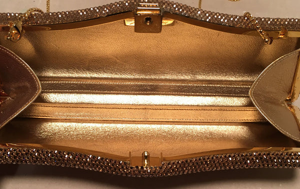Judith Leiber Gold Swarovski Crystal Evening Bag Minaudiere Clutch