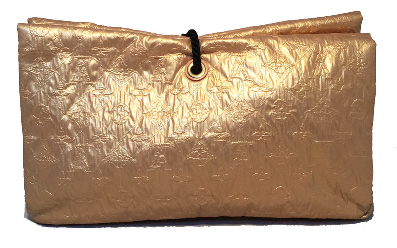 Louis Vuitton Gold Leather African Queen Masai GM Limelight Monogram Clutch
