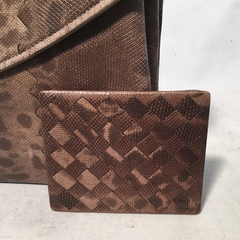 Bottega Veneta Brown Lizard Leather Clutch