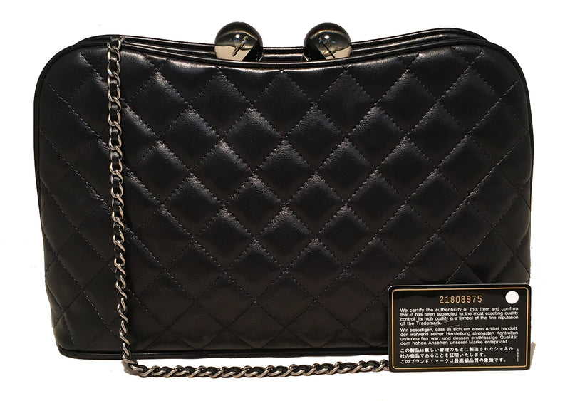 Chanel Black Leather Crystal Ball Kisslock Clutch