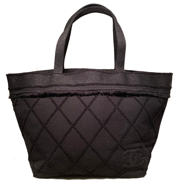 Chanel Black Canvas Raw Edge Tote Bag