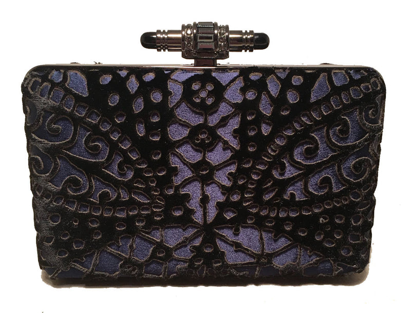Judith Leiber Navy Blue Black Velvet Cut Out Evening Bag Clutch