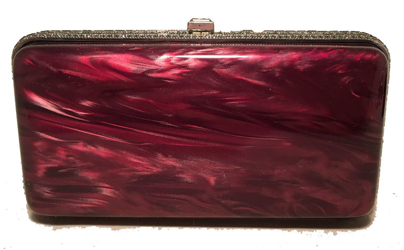 Judith Leiber Maroon Pearlized Box Clutch with Crystals