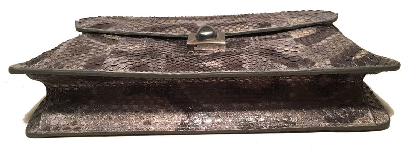 Judith Leiber Silver Grey Snakeskin Python Three way Handbag