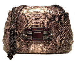 Judith Leiber Natural Grey Python Snakeskin Shoulder Bag