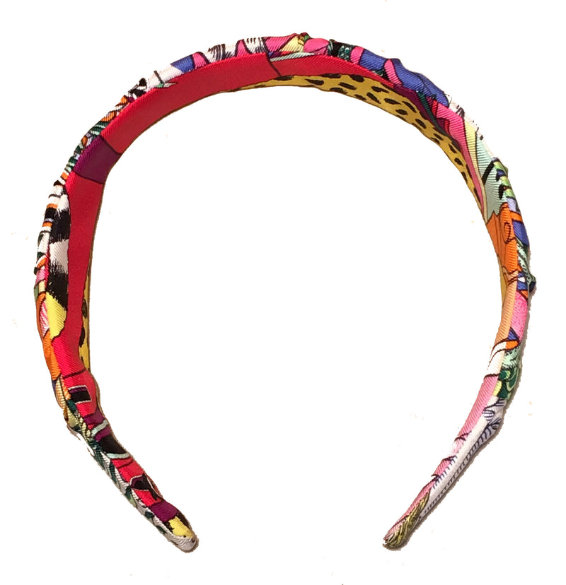Hermes Animopolis Silk Scarf Ruched Headband