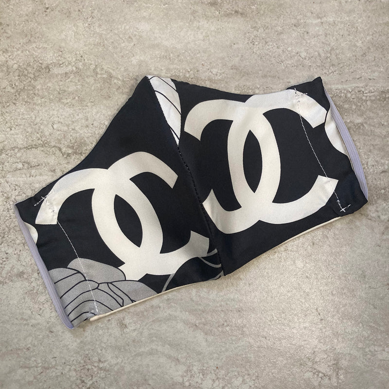 Chanel Black and White CC Logo Silk Scarf Face Mask