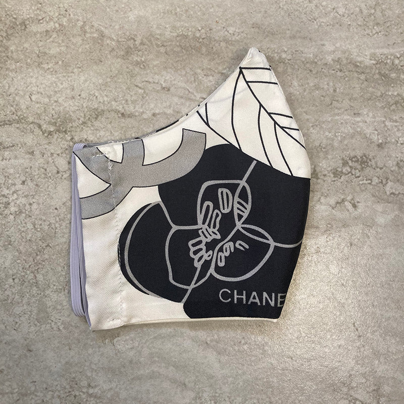 Chanel Camellia Silk Scarf Face Mask