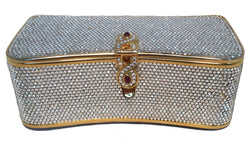 Judith Leiber Vintage Box Clear Swarovski Crystal Minaudiere Evening Bag Clutch