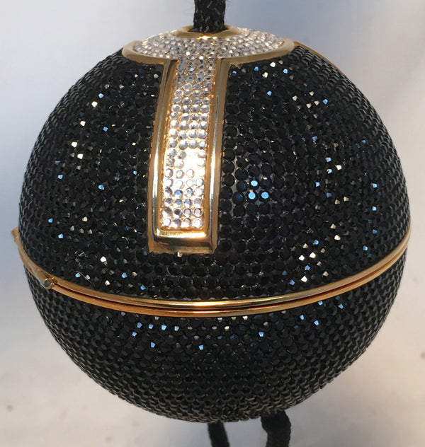 Judith Leiber Black Swarovski Crystal Ball Minaudiere Evening Bag