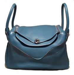 Hermes Blue Jean Clemence leather Lindy Bag
