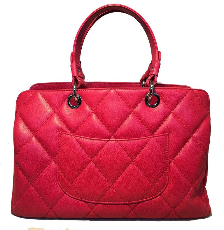 Chanel Dark Pink Caviar Quilted Grand Shopping Tote