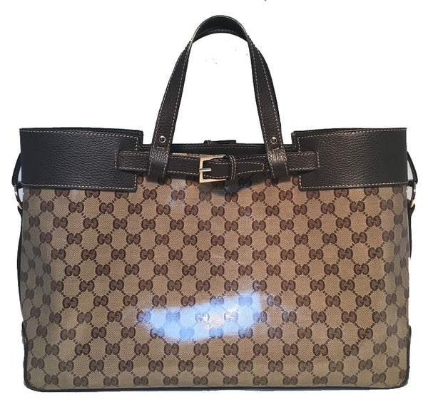 Gucci Coated Monogram and Leather Buckled Portfolio Tote
