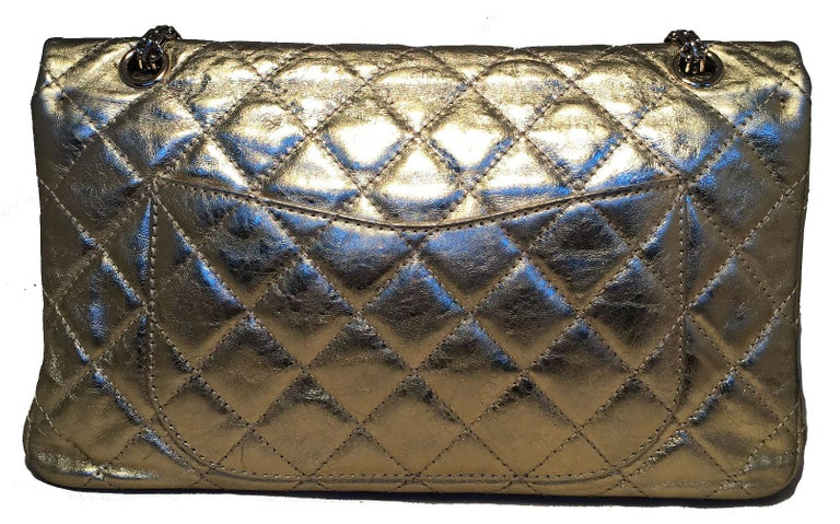 Chanel Gold Distressed Leather 2.55 Double Flap Classic 227 Reissue