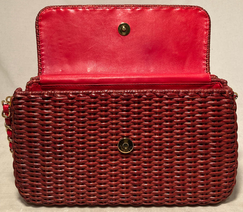 Chanel Red Wicker Classic Flap Shoulder Bag