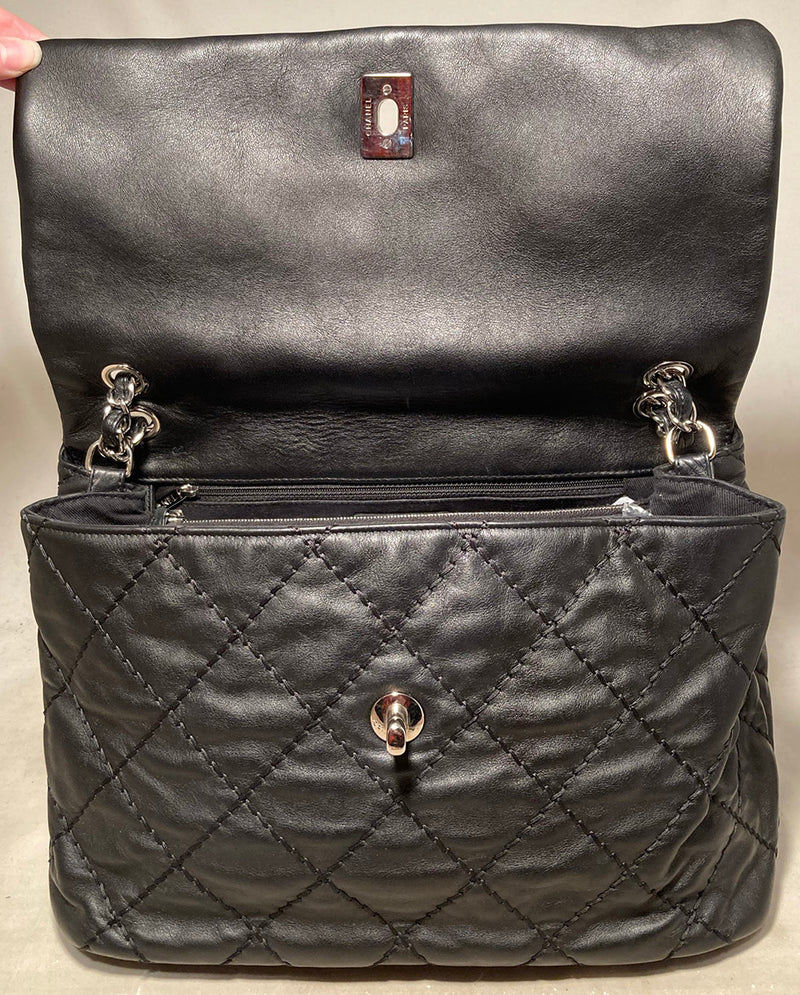 Chanel Black Leather Ultimate Stitch Classic Flap Shoulder Bag