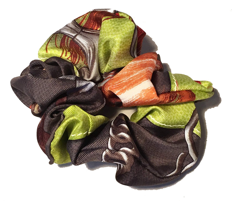 Hermes Handmade Projets Carres Silk Scarf Scrunchie in Green