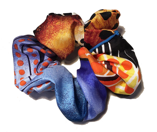 Hermes Handmade Baobab Cat Silk Scarf Scrunchie in Bright Blues and Oranges