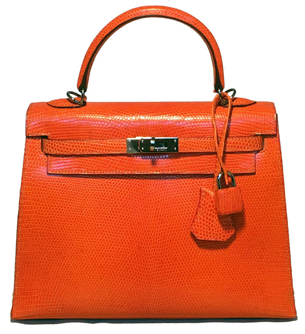 Hermes Tangerine Orange Shiny Niloticus Lizard Leather Kelly 25cm Sellier