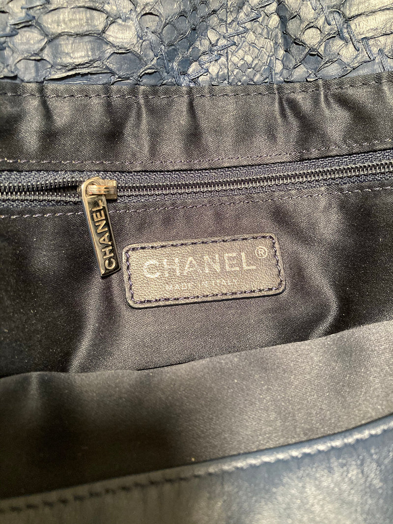 Chanel Navy Blue Quilted Matte Snakeskin Tote