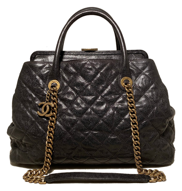 Chanel Glazed Caviar Large Frame Tote Bag